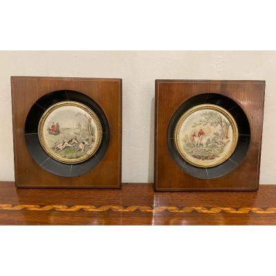 Paire De Miniatures Anglaises Sur Porcelaine