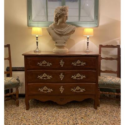 Elegant Curved Chest Of Drawers, Louis XV - 18th Century