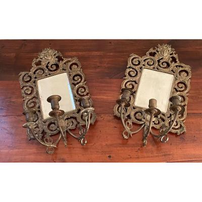 Paire De triple Appliques à Miroir en bronze doré