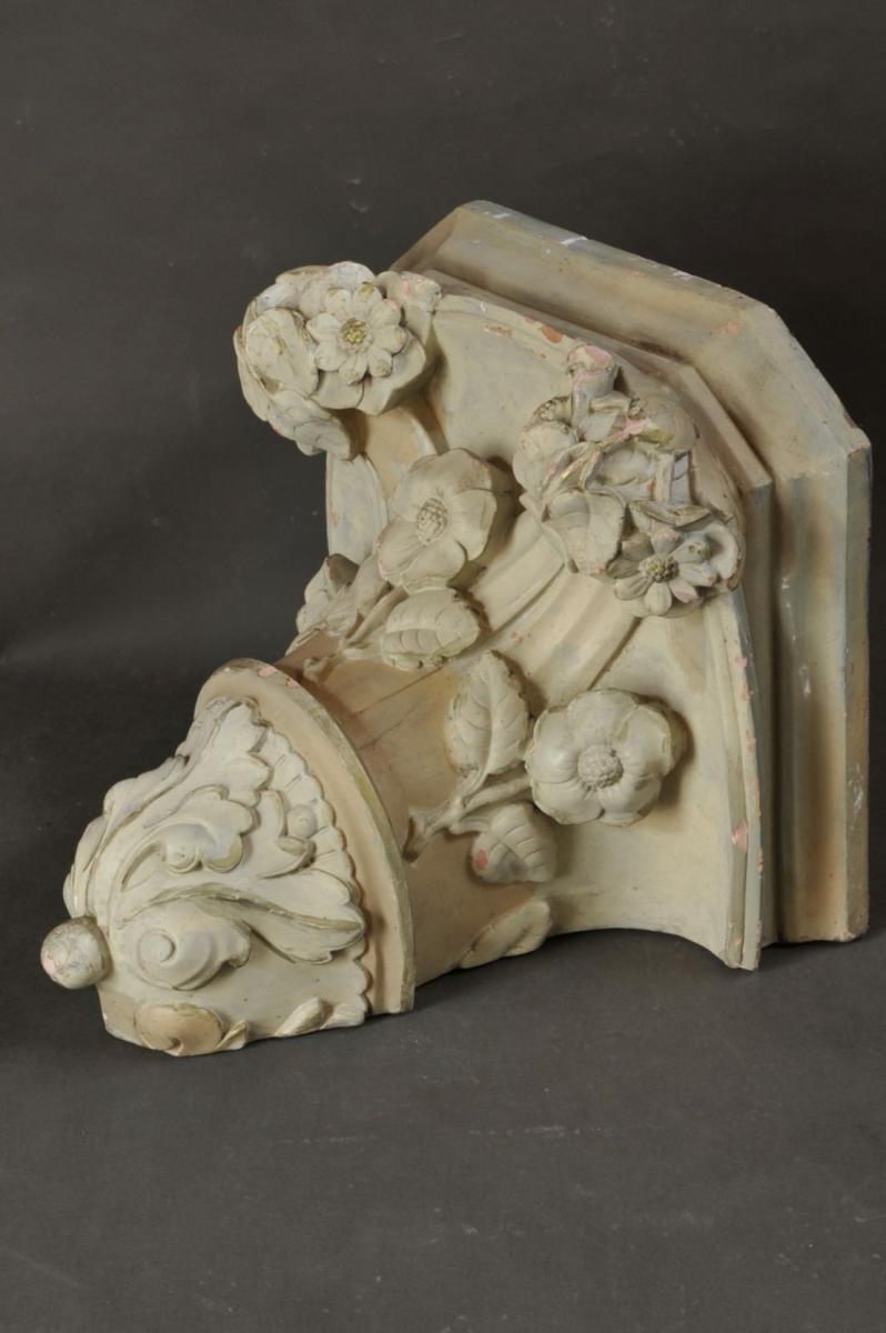 Grande Console D'applique De Style Baroque En Terre Cuite