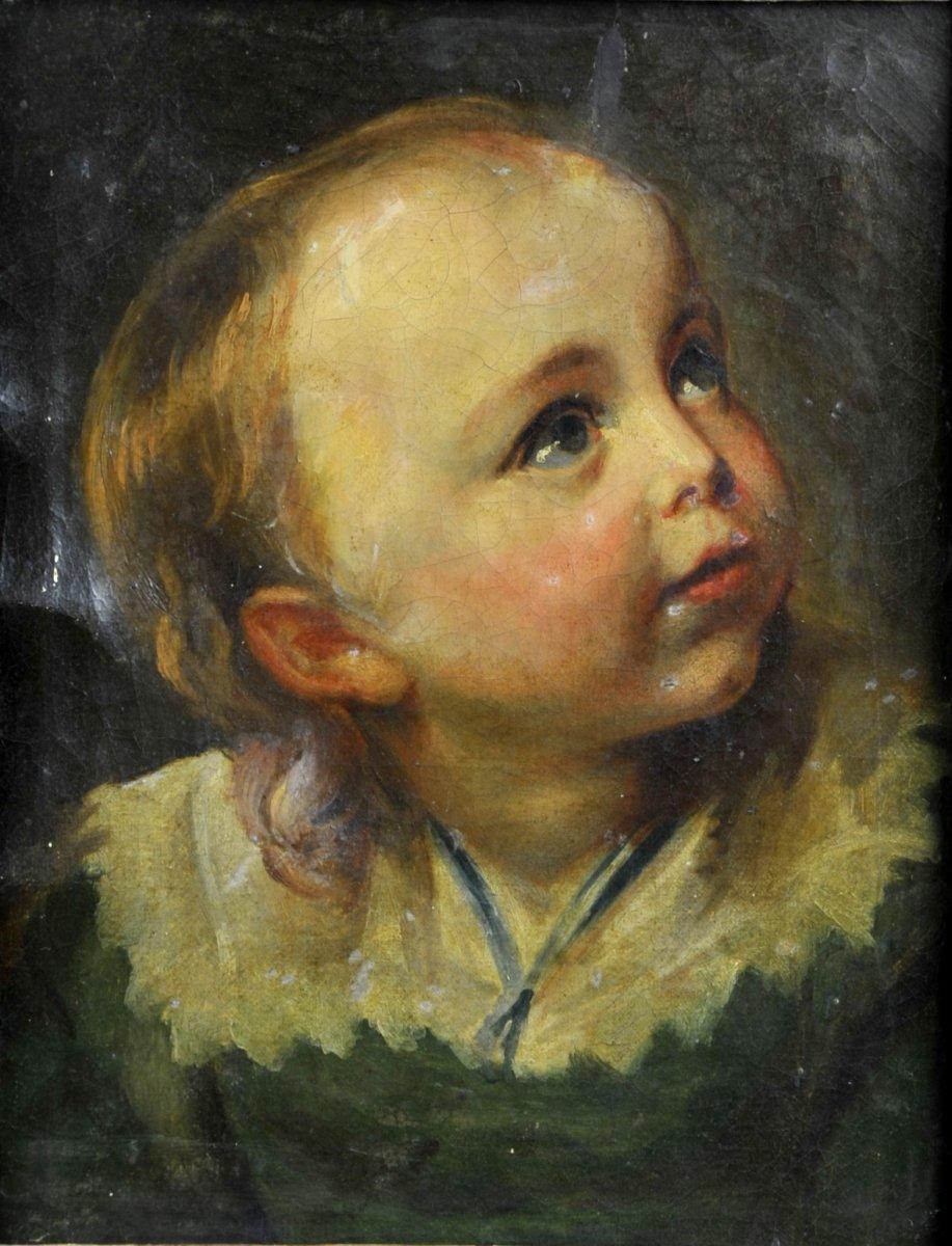 Huile Sur Toile Du XVIIIe Siècle – Portrait D'un Jeune Enfant