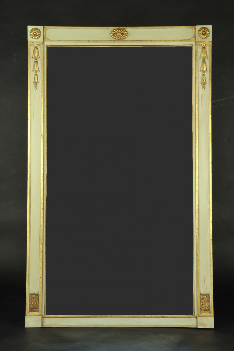 Directoire Style Mirror In Lacquered And Gilded Wood