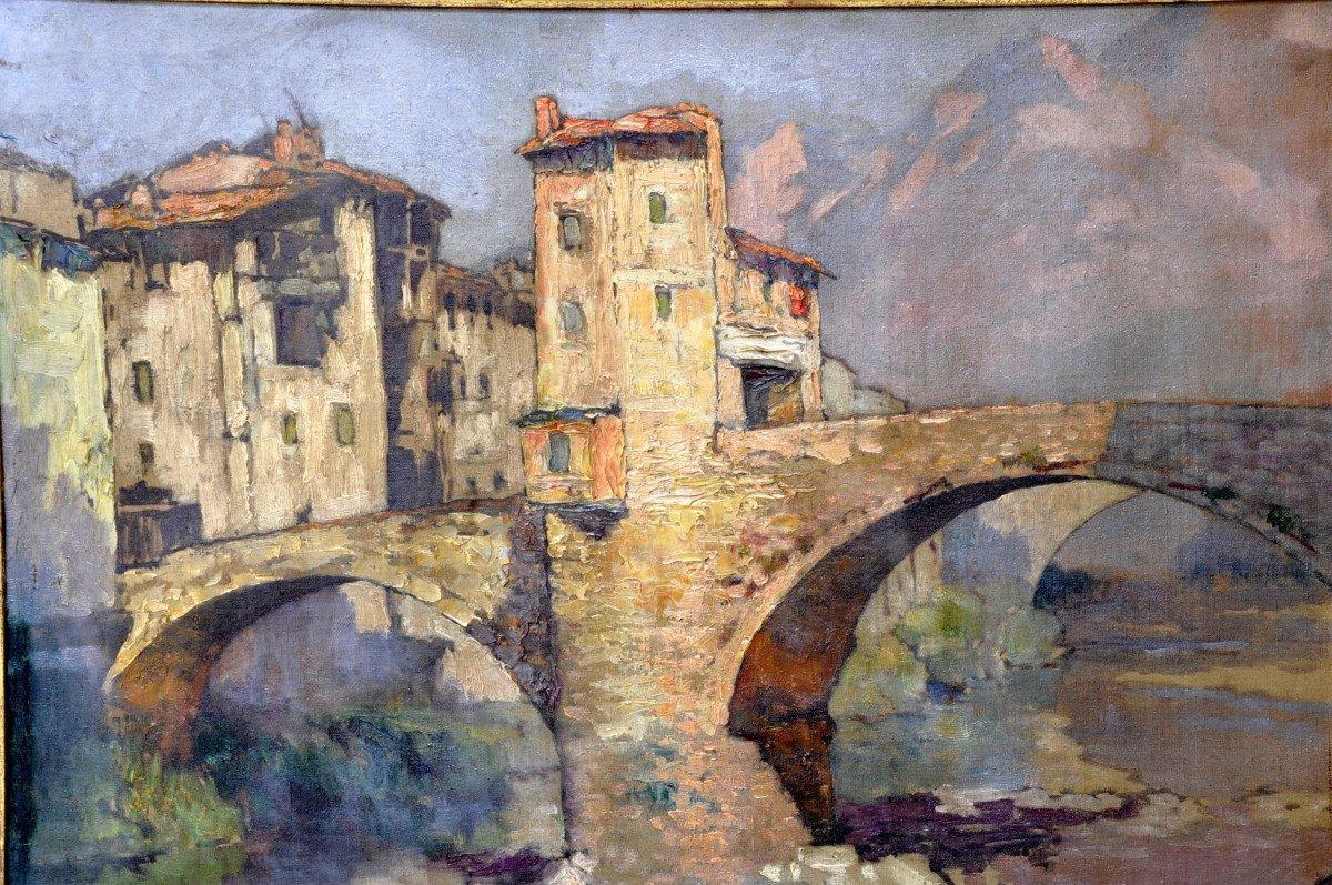 Huile Sur Toile Signée Léon Broquet – Le Pont Vieux à Sospel