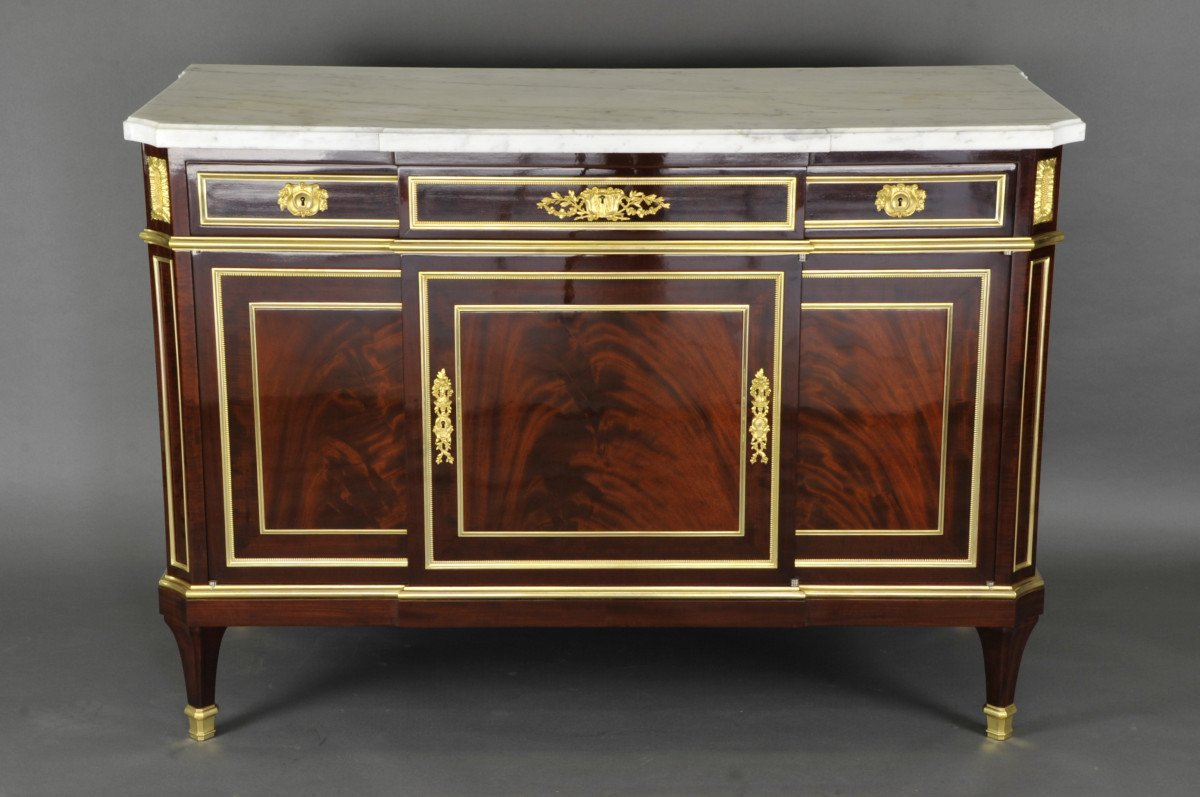 Important Louis XVI Commode Stamped Gervais Durand-photo-1