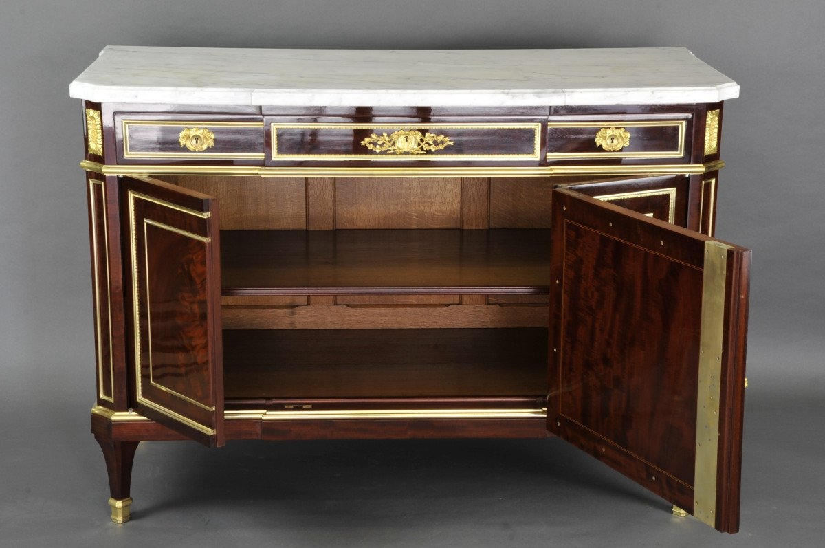 Important Louis XVI Commode Stamped Gervais Durand-photo-4