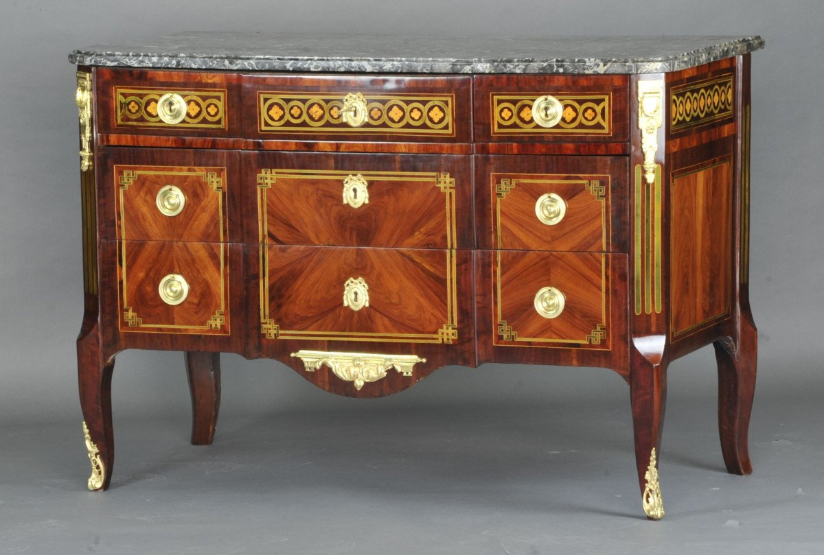 Large Commode Transition With Marquetry Of Quartefeuille-photo-4
