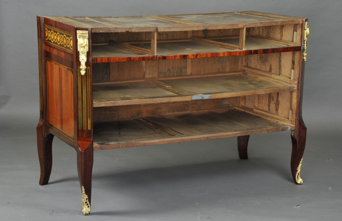 Large Commode Transition With Marquetry Of Quartefeuille-photo-8