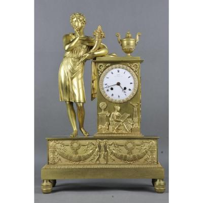 Pendule Empire En Bronze Doré Par Claude Gallé