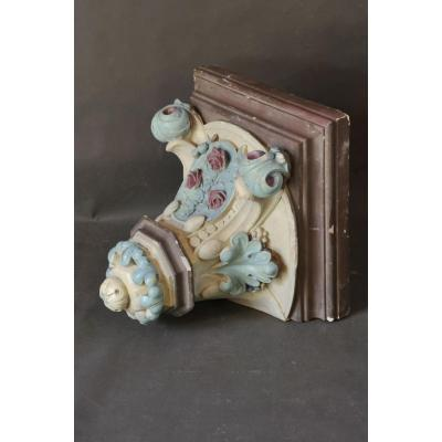 Large Polychrome Plaster Wall-bracket