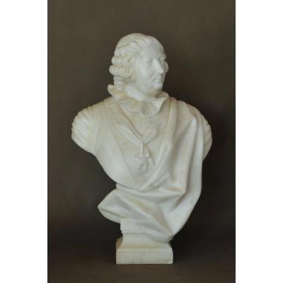 Grand Buste De Louis XV En Marbre Blanc De Carrare