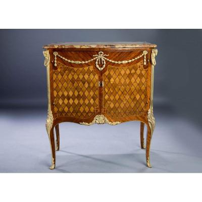 Important Meuble d'Appui In Marquetry And Gilded Bronzes