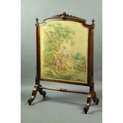 Grand Pare Feu Avec Huile Sur Toile d'Après Boucher De Style Louis XVI