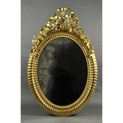 Large Oval Mirror Napoleon III Gilt Wood