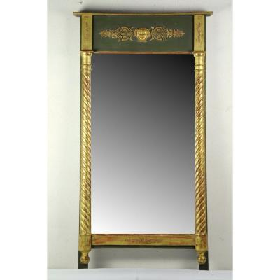 Empire Mirror In Golden Wood And Green Lacquer