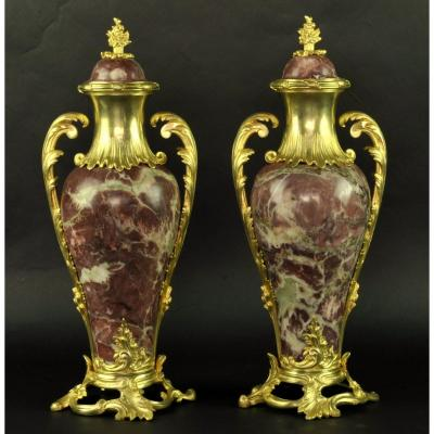 Pair Of Louis XV Rocaille Cassolettes In Marble And Ormolu
