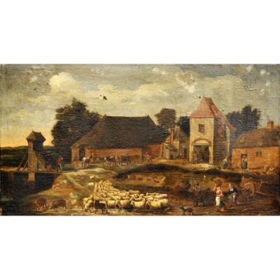 Oil On Canvas From The Eighteenth Century - Animated Village Scene