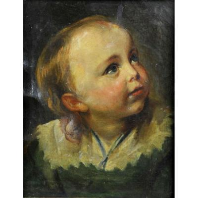 Oil On Canvas From The Eighteenth Century - Portrait Of A Young Child