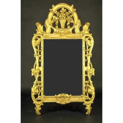 Regency Mirror In Carved Wood And Gilded