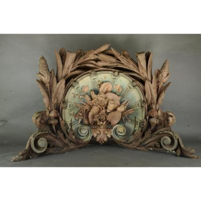 Four enormous corner cornices from the Art Nouveau period in polychrome stucco with rich plant and floral decoration from a day well in a sumptuous Bordeaux mansion (See photo of the day well before dismantling).<br /> <br /> CIRCA 1890.<br /> <br /> Good general condition - some lacks (pieces to be glued that we have for the most part)<br /> <br /> The other elements of the decor such as glass panels and woodwork, wrought iron dome, also available (contact us).<br /> <br /> Unique pieces<br /> <br /> REF / K816<br /> <br /> Worldwide delivery