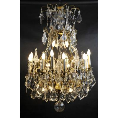 Large Cage Chandelier In Baccarat Crystal And Gilt Bronze - 22 Lights