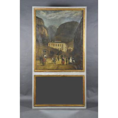 Large Trumeau In Gray And Gilded Lacquered Wood From Restoration Period