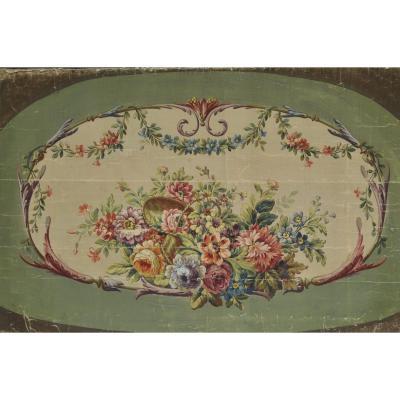 19th Century Aubusson Cardboard With Flower Basket Decor