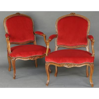 Pair Of Large Louis XV Armchairs - 18th Century