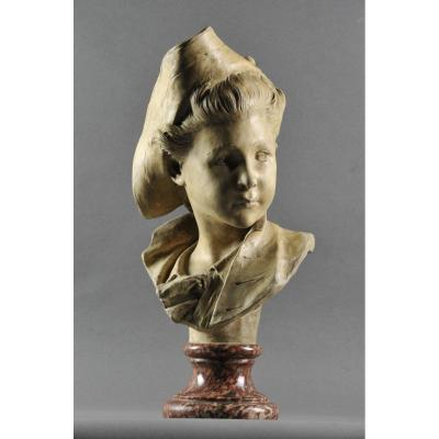 Bust Of A Young Gentleman From The 18th Century In Tricorn - Terracotta Signed Gustave Deloye