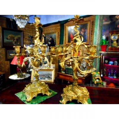 Paire Candelabres Louis XV