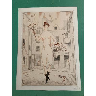 "Jean Emile Laboureur ( 1877-1943 )  Gravure "" la Folle """