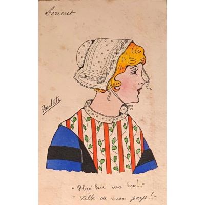 """Paulette Le Corre ( 1898-?  coiffe bretonne """" Lorient - Aquarelle"""