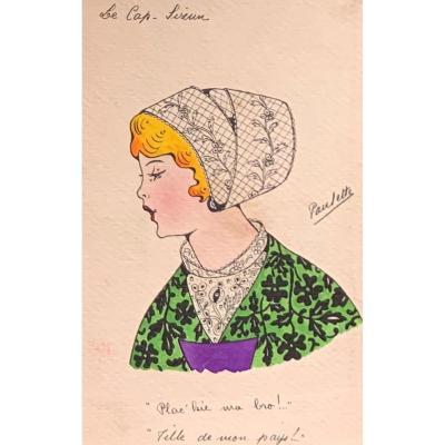 """Paulette Le Corre ( 1898-? ) coiffe bretonne """" Cap Sizun """" Aquarelle"""