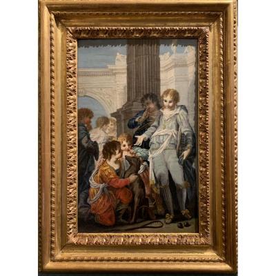 Le jeu de la rachetta, ancêtre italien du Tennis, Ecole Vénitienne vers 1750
