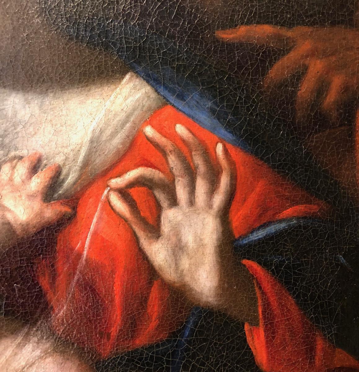 Sainte Famille signée Alonso del Arco. Ecole espagnole XVIIème siècle-photo-3