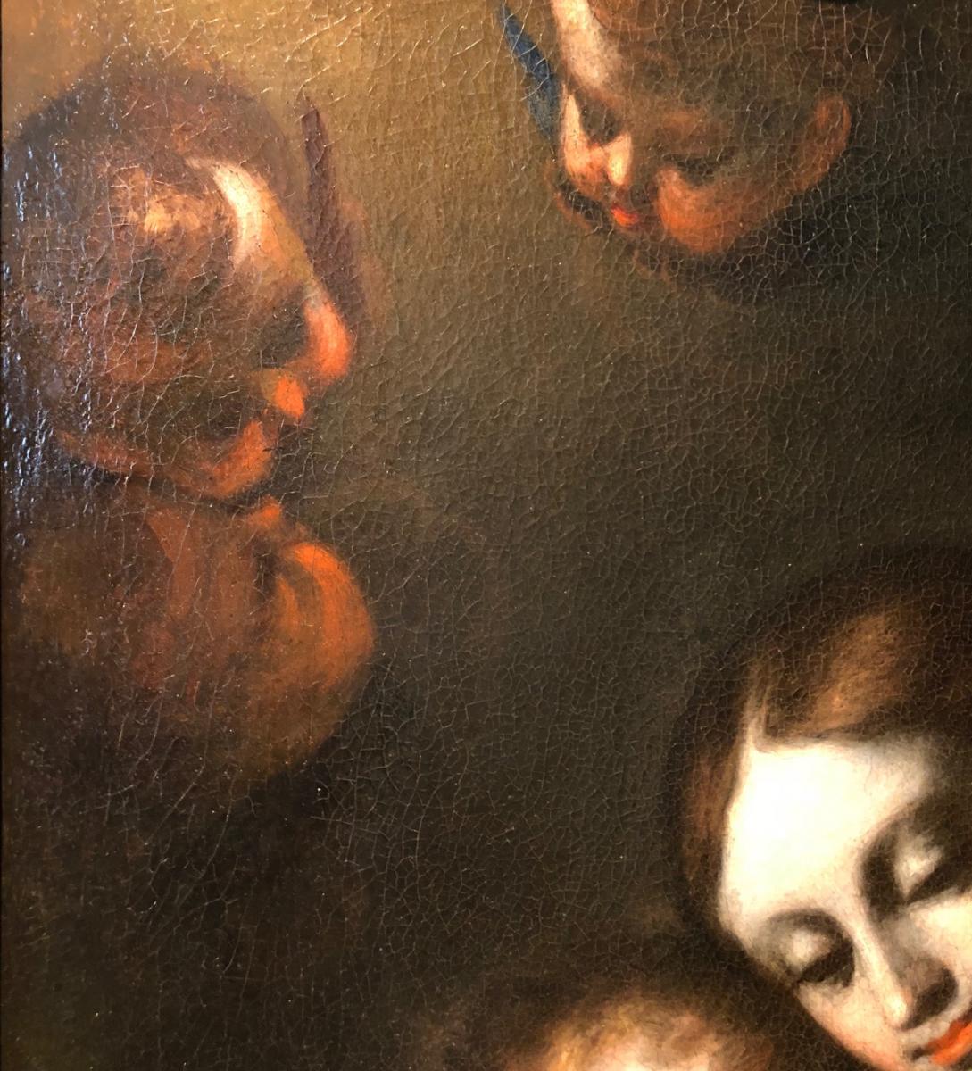 Sainte Famille signée Alonso del Arco. Ecole espagnole XVIIème siècle-photo-1