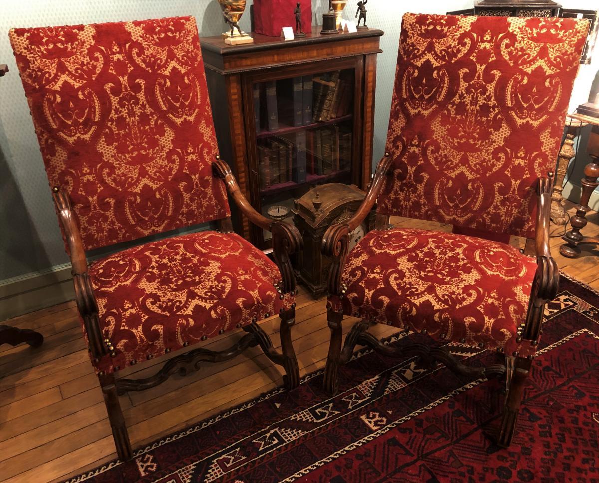 """Paire de fauteuils Louis XIV type """"os de mouton"""" XVIIème siècle"""