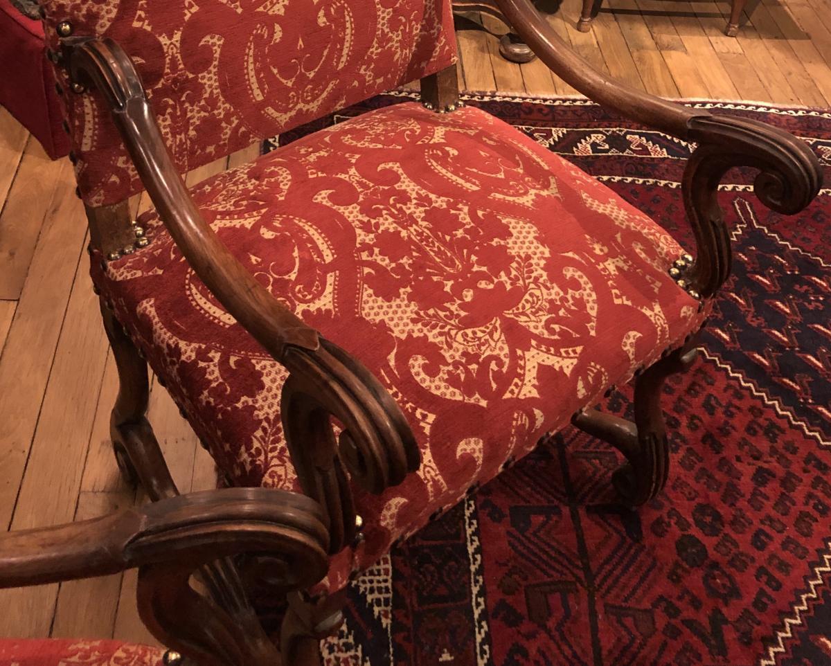 """Paire de fauteuils Louis XIV type """"os de mouton"""" XVIIème siècle-photo-2"""