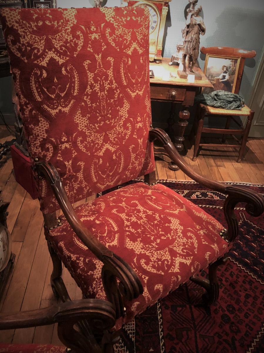 """Paire de fauteuils Louis XIV type """"os de mouton"""" XVIIème siècle-photo-3"""