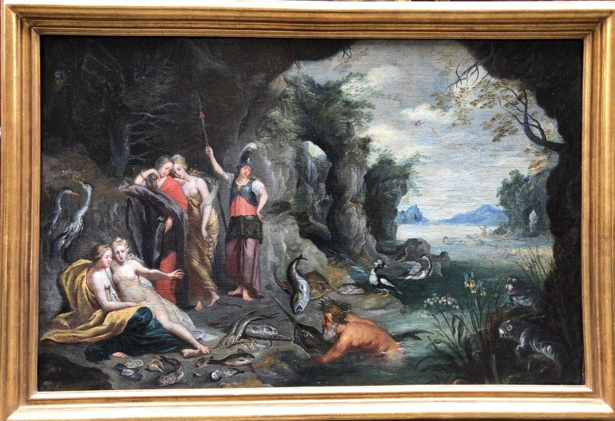 Ecole Flamande XVIIe : Combat entre Athena et Poseîdon pour l'Attique