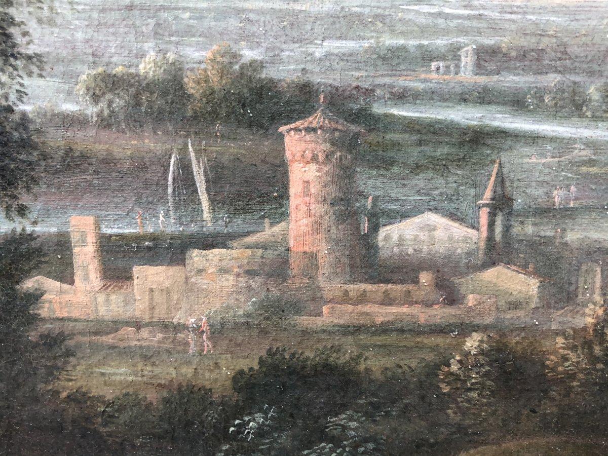 Huile Sur Toile Attribuée à Jean-baptiste Claudot (1733 - 1805), Paysage Animé-photo-1