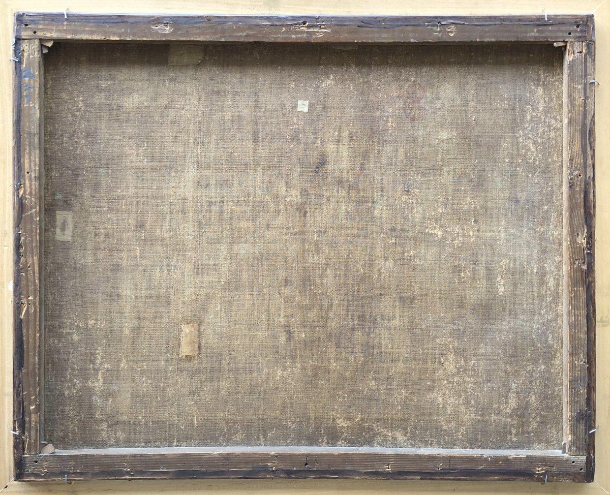 Huile Sur Toile Attribuée à Jean-baptiste Claudot (1733 - 1805), Paysage Animé-photo-3