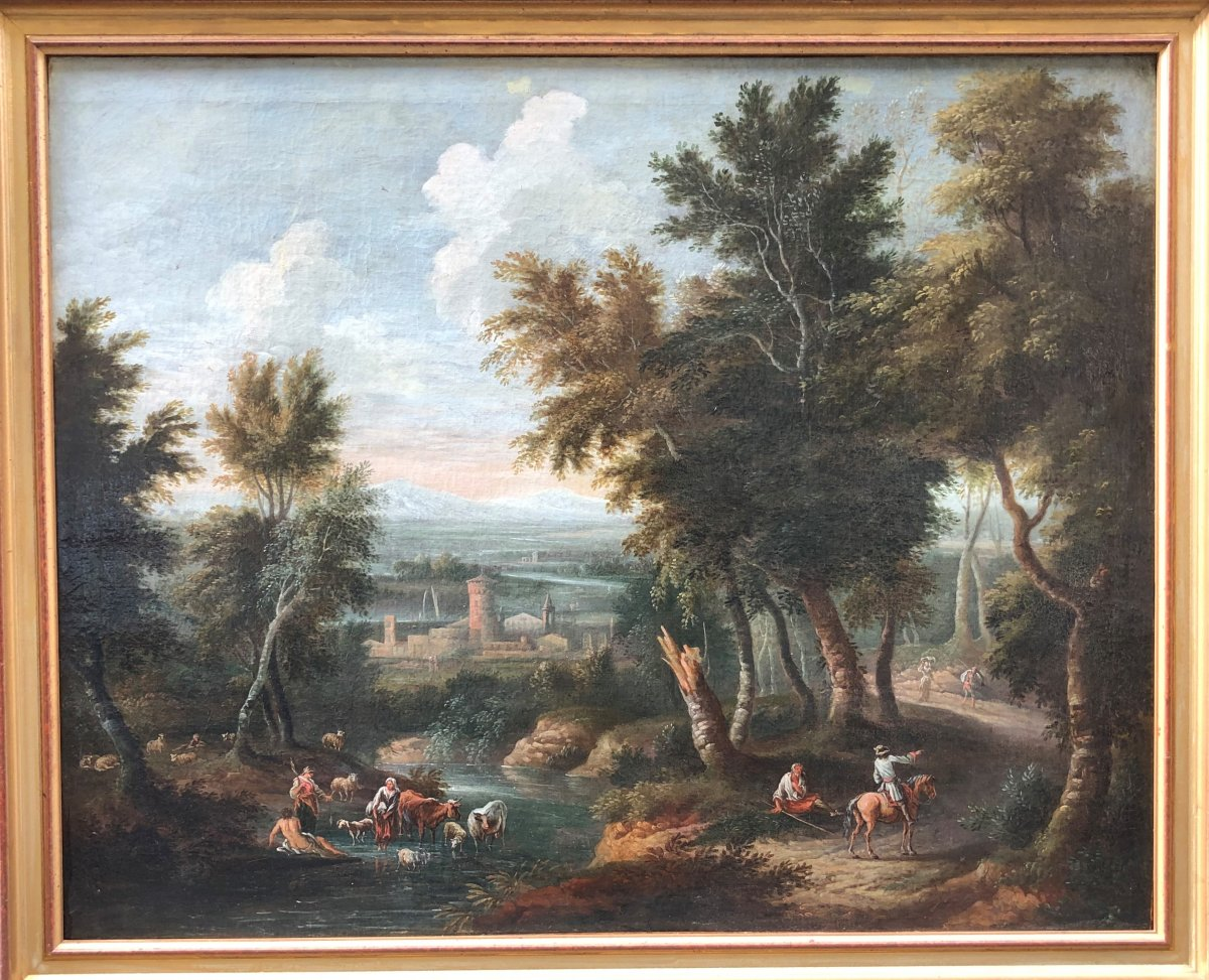 Oil On Canvas Attributed To Jean-baptiste Claudot (1733 - 1805), Landscape Animated