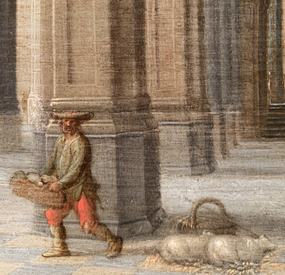 Jésus chassant les marchands du Temple – Attribué à Hendrick II van Steenwyck (1580 – 1649)-photo-2