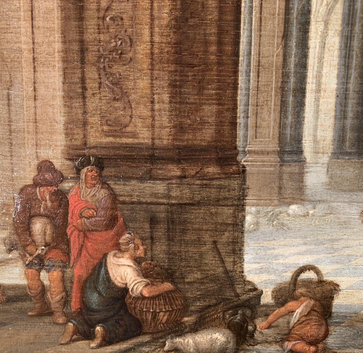 Jésus chassant les marchands du Temple – Attribué à Hendrick II van Steenwyck (1580 – 1649)-photo-3