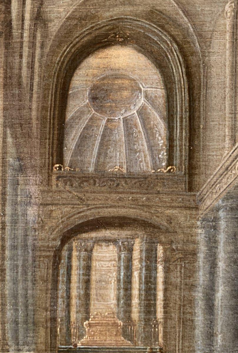 Jésus chassant les marchands du Temple – Attribué à Hendrick II van Steenwyck (1580 – 1649)-photo-4