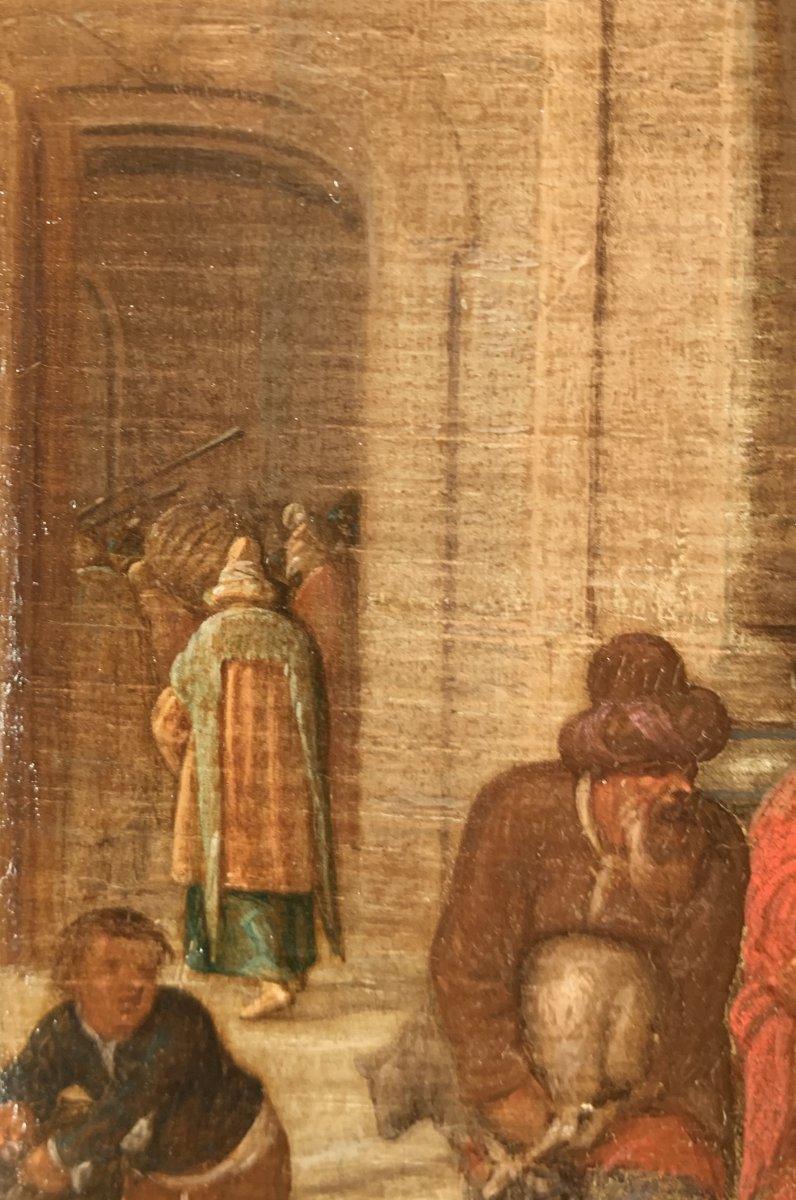 Jésus chassant les marchands du Temple – Attribué à Hendrick II van Steenwyck (1580 – 1649)-photo-5