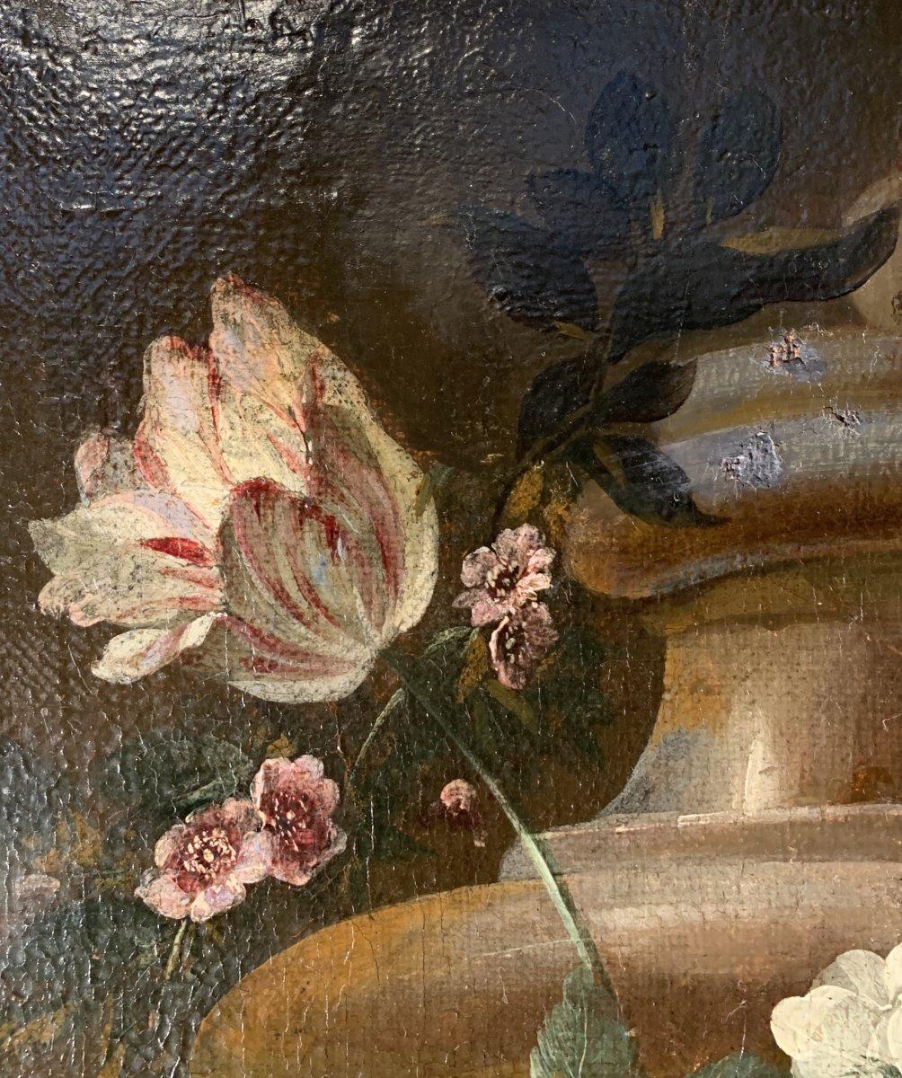 Gerbe de fleurs sur vase sculpté - Ecole flamande (Anvers) XVIIE G.P. Verbruggen (attr)-photo-1