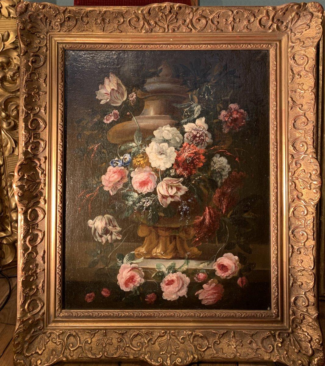 Gerbe de fleurs sur vase sculpté - Ecole flamande (Anvers) XVIIE G.P. Verbruggen (attr)