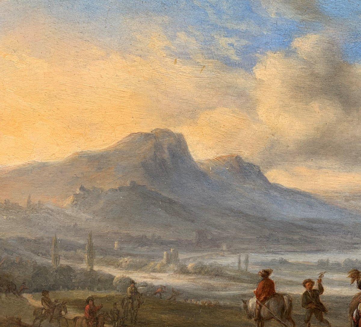 Scène de Chasse au Faucon dans un paysage animé Ecole Hollandaise XVIIe Siècle-photo-1