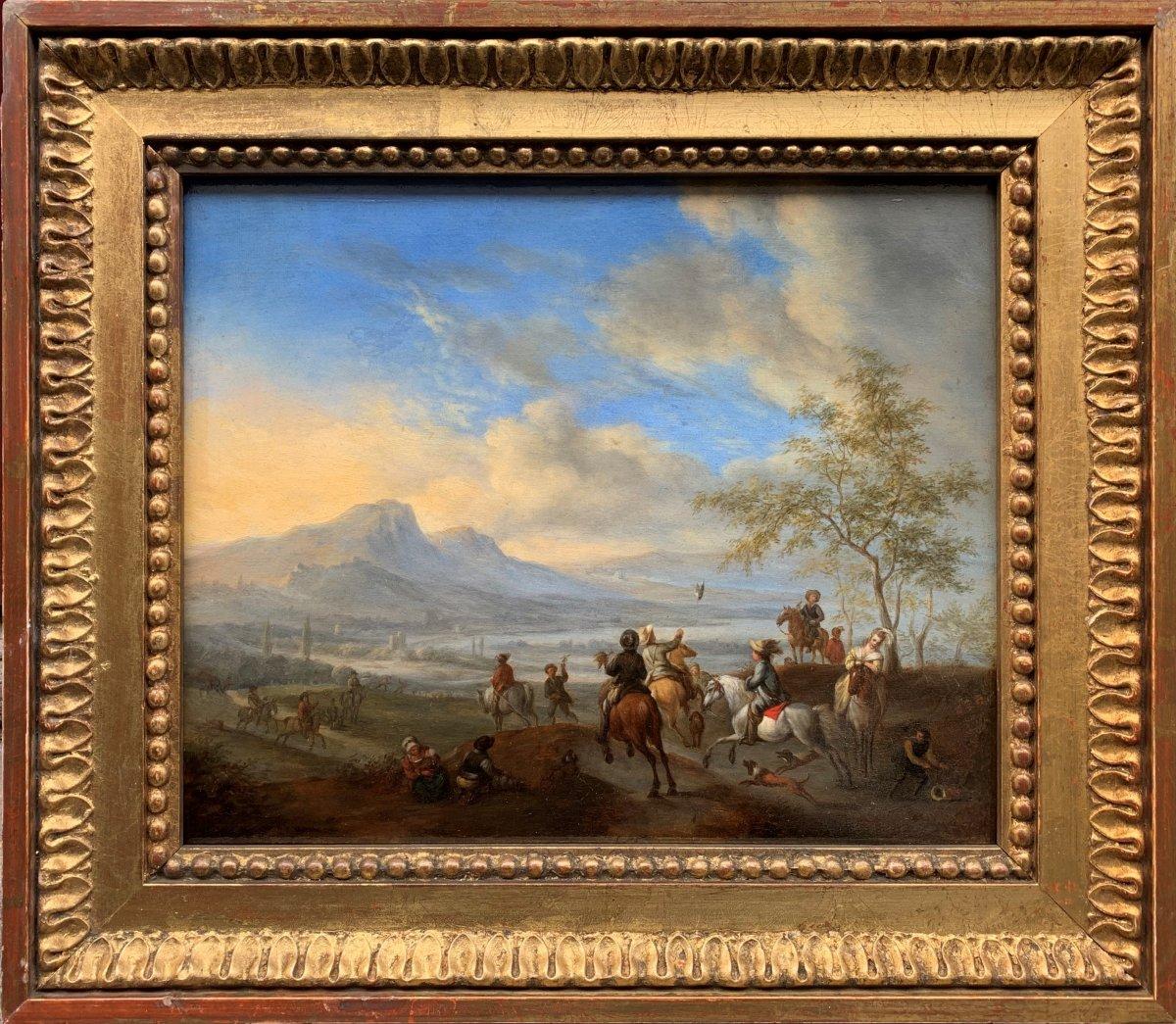 Scène de Chasse au Faucon dans un paysage animé Ecole Hollandaise XVIIe Siècle